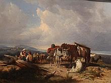 Ecole Italienne    Halte des bergers sur un col    Huile sur toile, signée en bas au milieu