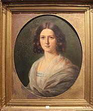 Alex HOUDAILLE     Portrait de la Comtesse de Franqueville     Huile sur toile    62 x 50 cm