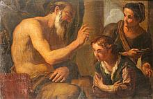 Ecole Italienne du XVIIème    Enseignement d'un vieil homme    Huile sur toile    93 x 140 cm