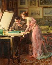 Louis GALLIAC (1849-1934)    Photographe ou restaurateur, à ses côtés une femme en déshabillé    Huile sur toile signée en bas à gauche    72 x 60 cm