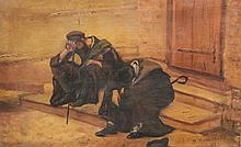 Samuel ROSENBERG (1896-1972)    Deux hommes assis    Huile sur toile, signée en bas à droite, datée 1920    30 x 46 cm