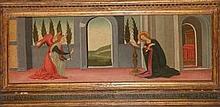 ECOLE FLORENTINE DU XVe SIECLE    Tempera sur panneau    Annonciation    Circa 1500    27 x 77 cm