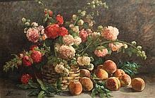 J. BAUDIN    Panier de fleurs et pêches    Huile sur toile, signée en bas à gauche    85 x 100 cm