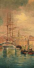 Louis NATTERO (1870-1915)    Le port de Marseille et le quartier du Panier en fond.     Huile sur toile, signée en bas à droite    21,5 x 11 cm