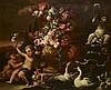 Nicolo CASSISSA (Naples avant 1700-1731)    Deux putti près d'une urne fleurie    Toile    120 x 145 cm        Provenance : Galerie Cesare Lompronti    Restaurations anciennes, Nicola Casissa, Click for value