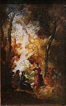 Attribué à Narcisse DIAZ    Paysage de foret    Huile sur bois    6 x 9 cm