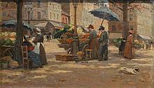 Louis PETIT (1864-1937)    Marché aux fleurs et aux légumes à Paris    Huile sur toile, signée en bas à gauche    27 x 45 cm