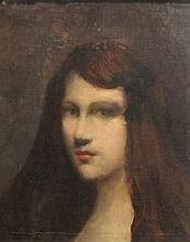 Dans le goût de HENNER    Portrait de jeune fille    Huile sur toile    H. 40 - L. 32,5 cm