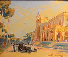 A. LINDENAU    Résidence des Pins à Beyrouth    Huile sur toile, signée en bas à droite.    60 x 73 cm