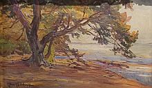 Claudia BRET-CHARBONNIER (1863-1951)    Rivage et sous-bois    Huile sur carton    42 x 26,5 cm