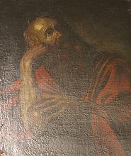 Ecole Italienne du XVIIème siècle    Saint Jérôme    Huile sur toile     87 x 67 cm     (restaurations, accidents et manques)