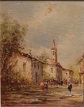 Francesco MANCINI (1830-1905)    Scène animée sur une place de village    Huile sur carton, signée en bas à gauche    27 x 20 cm
