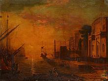 D'après Le Lorrain    Animation sur le port, soleil levant.     Huile sur toile    82 x 107