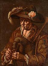 ECOLE NAPOLITAINE, première moitié du XVIIe siècle    Huile sur toile    Portrait d'homme au chapeau jouant de la cornemuse    52 x 39 cm