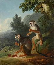 Philippe-Jacques de LOUTHERBOURG (1740-1812)    Singes aux prunes    Huile sur toile    64,5 x 54