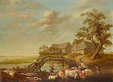 Ecole du Nord, XVIIIème siècle    Retour de troupeaux    Huile sur panneau, signée en bas à gauche (illisible)    63 x 84,5    Plusieurs manques et accidents
