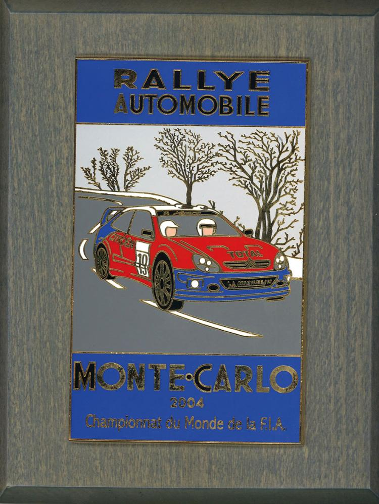 rallye automobile de monte carlo ensemble de quatre plaques. Black Bedroom Furniture Sets. Home Design Ideas