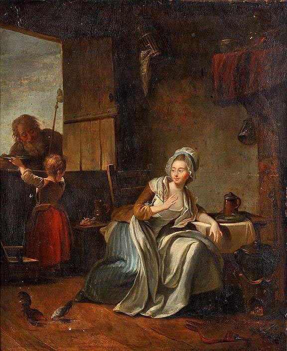 Ecole française du XVIIIème - La visite à la ferme