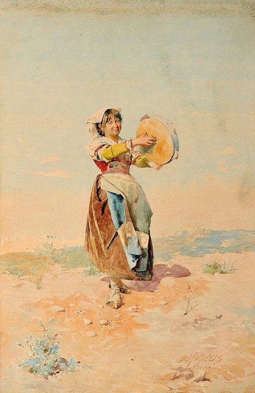 Domenico DE ANGELIS Ecole Italienne - Femme au tambourin