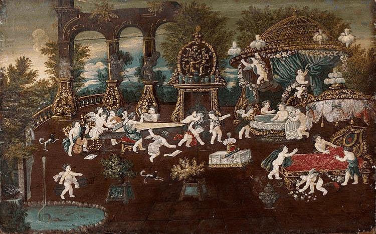 Ecole FRANCAISE vers 1680 - Une réunion de putti...