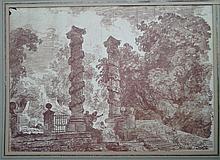 Lot de 2 paysages Ruines et Caprices dont l'uns recto verso  26 x 36 cm / 54 x 36 cm