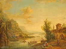 École début du XIXe siècle  Trois silhouettes au bord d'un cours d'eau  Gouache non signée