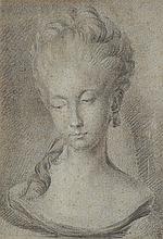 École Italienne du XVIIIe siècle  Portrait du jeune femme  Mine de plomb  Hauteur 22 cm