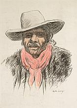 Alphonse LEVY (1843-1918)  Homme au chapeau  Crayon, crayon couleurs  52 x 36 cm