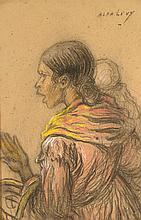 Alphonse LEVY (1843-1918)  Femme à l'enfant  Crayon , crayon couleurs  52 x 36  cm