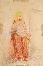 Alphonse LEVY (1843-1918)  Femme à l'enfant dans la médina  Crayon, crayon couleurs  52 x 36 cm