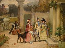 OUTIN Pierre (1840-1899) XIXe siècle- Français   Le départ - L'arrivée  2 Huiles sur panneau