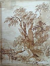 École Française XVIIIe siècle  Le pont  Lavis sur papier  28 x 22 cm