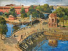 École de l'Est XXe siècle  Vue d'une ville  Signé en Cyrillique en bas à gauche  89 x 116 cm