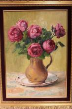 Louis PETIT (1864-1937) Bouquet de fleurs dans un