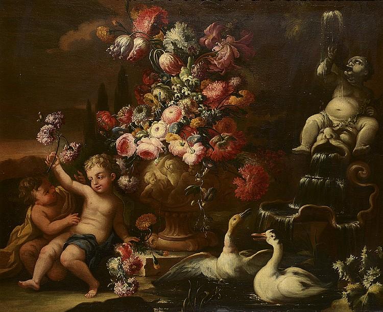 Nicolas CASSISSA (Naples avant 1700-1731) Deux putti près d'une urne fleurie
