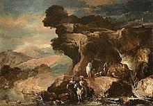 Antonio MARINI (1668-1725) Paysage montagneux avec des cavaliers Paysage nuageux avec cavaliers
