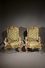 ITALIE Paire de fauteuils