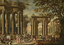 Isaac de MOUCHERON (1667-1744) Attribué à Préparation d'un banquet sous des architectures antiques