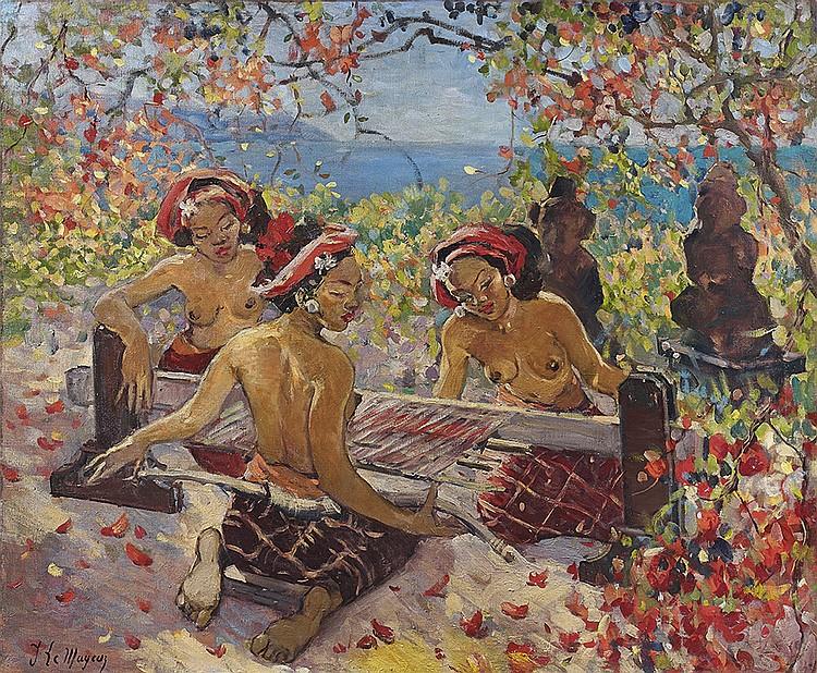 Adrien Jean le Mayeur de Merpres (1880-1958) Balinaises dans un jardin devant la mer