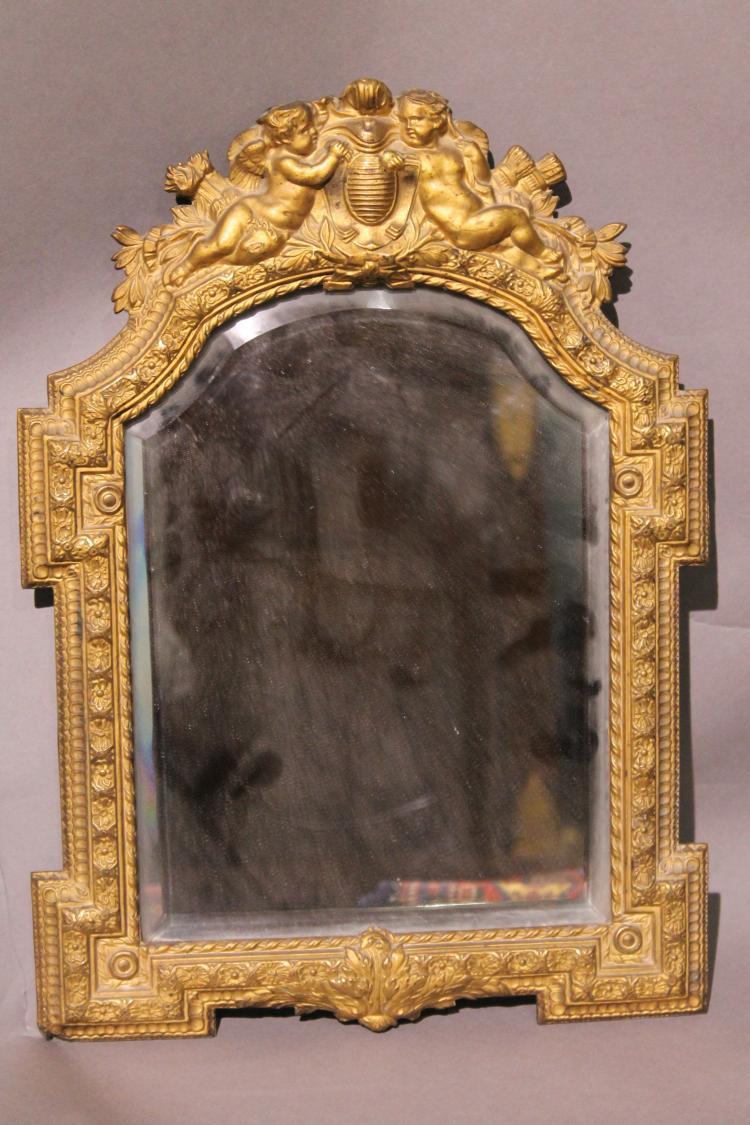 Miroir de table en cuivre cisel for Miroir table