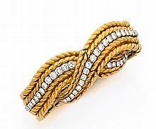Bracelet en deux lignes d'or jaune tressé, formant