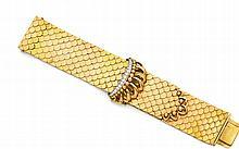 Bracelet ceinture en écailles d'or jaune, centré