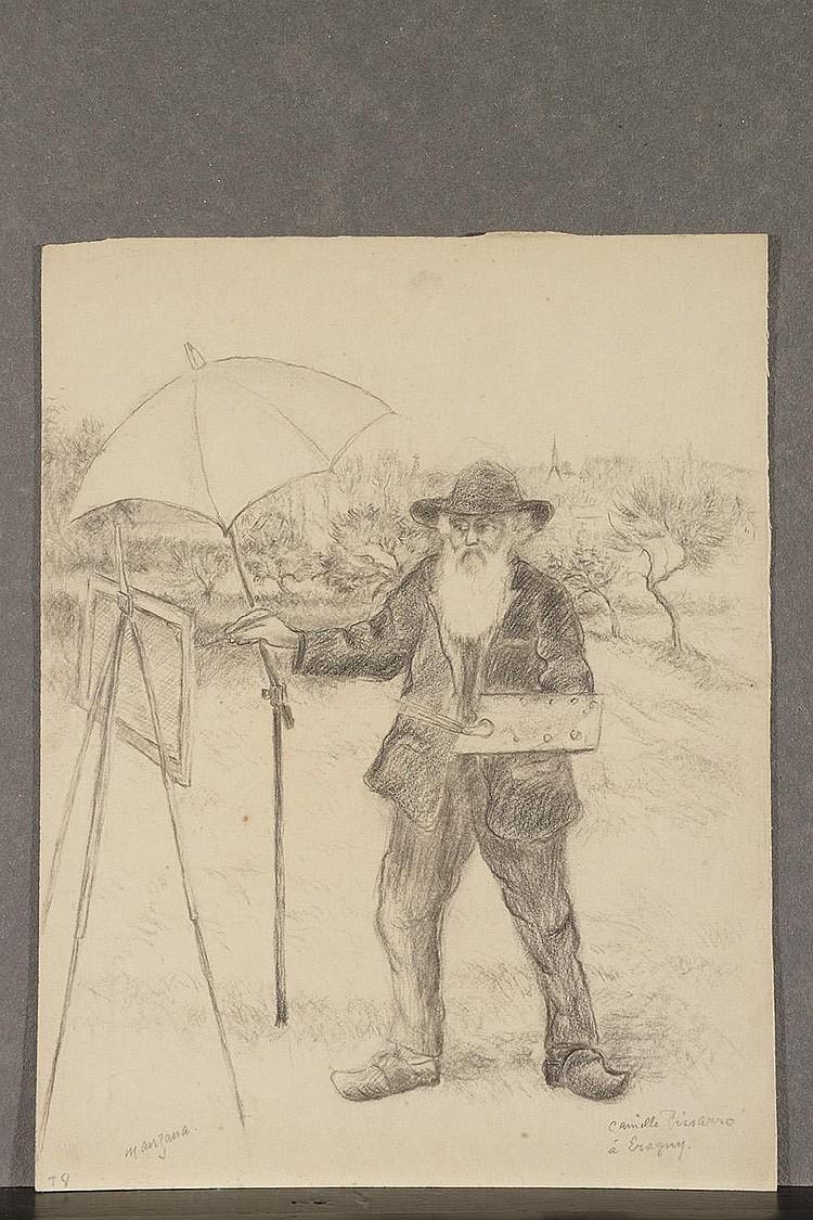 GEORGES MANZANA-PISSARRO (LOUVECIENNES, 1871-1961)  Camille Pissaro peignant dans son jardin d'Eragny Crayon