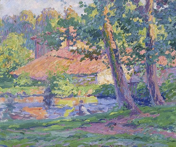 CHARLES THÉODORE BICHET (1863-1929) Silhouette au bord de l'eau