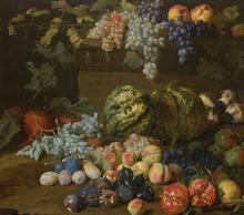 Hieronymus I GALLE (1625-c.1679) Nature morte aux pommes, raisins, pêches, prunes, grenades, figues…