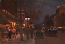 Fausto GIUSTO (1867-1941) Les grands boulevards à Paris la nuit
