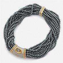 POIRAY  BEAU COLLIER de 12 rangs de perles