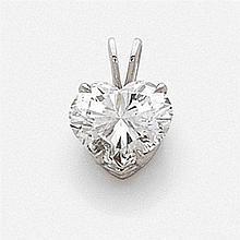 PENDENTIF en or gris, orné d'un beau diamant