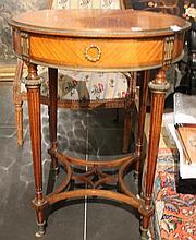 Table ronde en bois et placage.  Elle ouvre à 4 tiroirs en éventail, ornements en bronze  doré.  Pieds fuselés à cannelures réunis par des barres  d'entretoise (accidents)  Style Louis XVI
