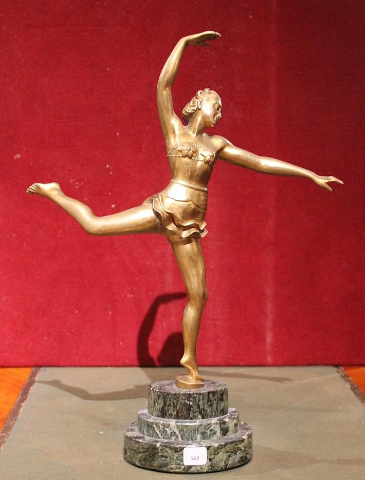 Salvatore MELANI  Bronze, danseuse sur un socle en marbre vert.  Années 1930  H. 48 cm